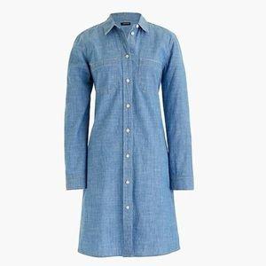 J. Crew Denim Chambray Long Sleeve Shirt Dress